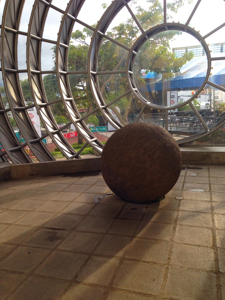 An ancient stone sphere in a new context at Plaza Democracia in San José, Costa Rica. Of more than 300 known spheres, all but a dozen or so have been moved from their original locations in the southern zone.