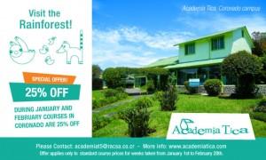 25% off our Spanish courses in Academia Tica Coronado