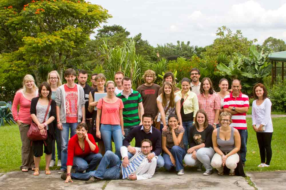 A group of Spanish students at Academia Tica Spanish school